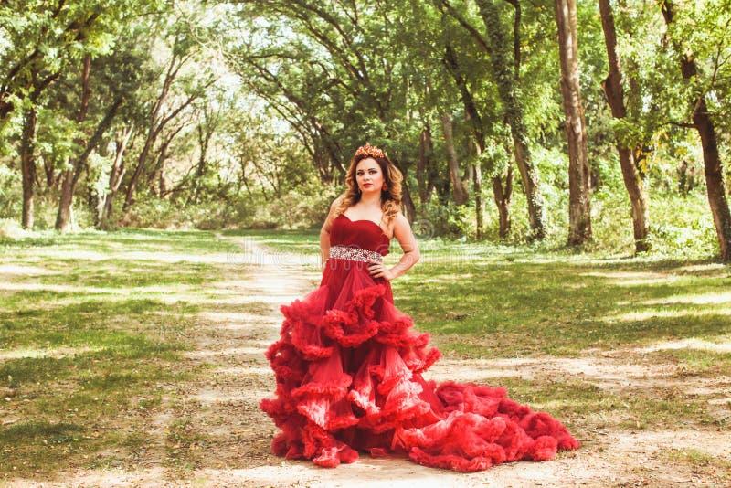 Princesa com a coroa no vestido vermelho nebuloso imagens de stock