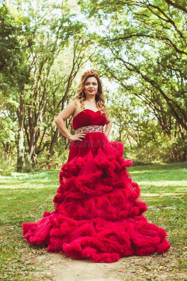Princesa com a coroa no vestido vermelho nebuloso imagens de stock royalty free