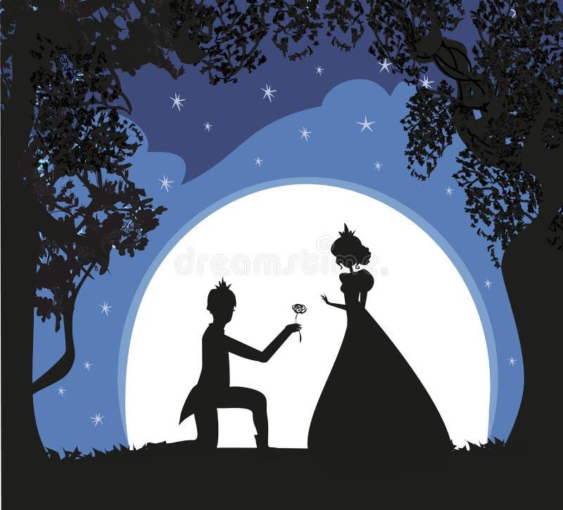Princesa com príncipe ilustração royalty free