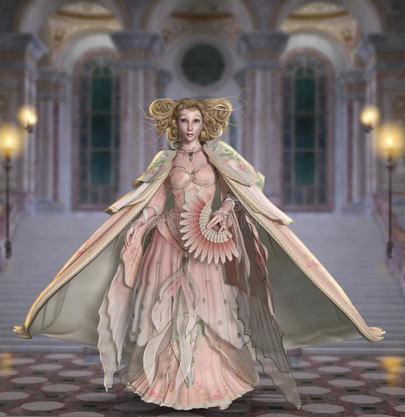 Princesa como a mulher em um vestido do baile de finalistas do vintage ilustração stock