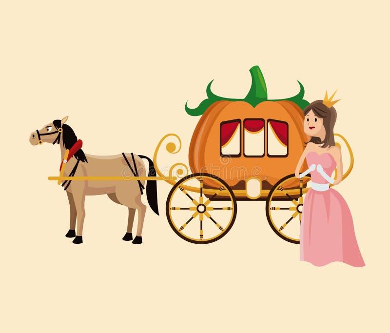 Princesa con el caballo de carro de la calabaza ilustración del vector