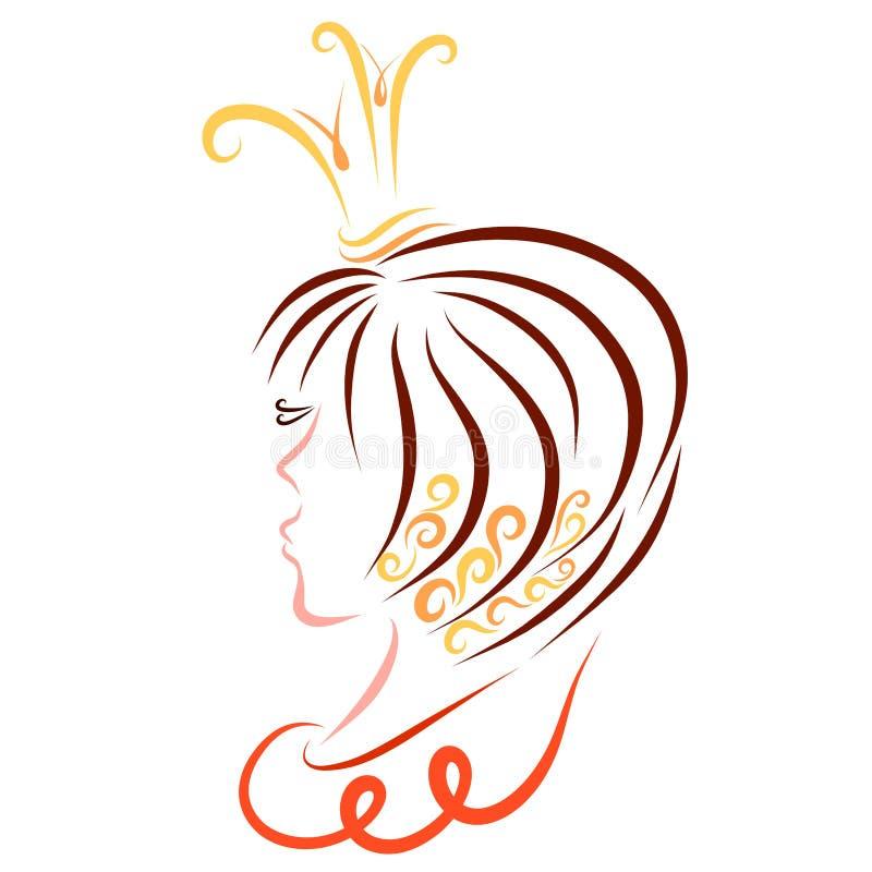 Princesa con el pelo enorme corto y el modelo en su pelo ilustración del vector