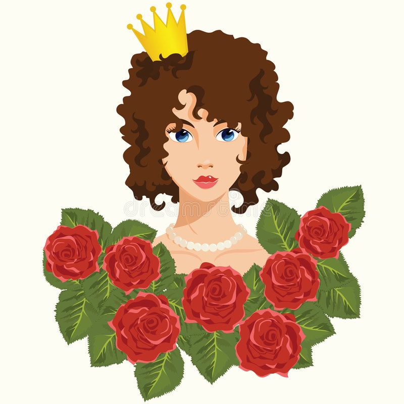 Princesa con las rosas rojas libre illustration