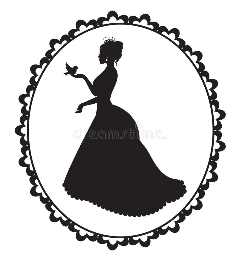 Princesa con un pájaro en un marco del vintage stock de ilustración