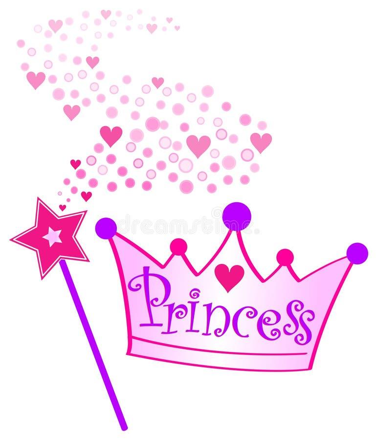 Princesa Coroa e Scepter ilustração royalty free
