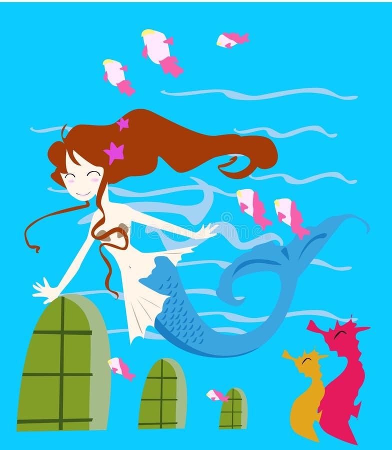 Princesa da sereia ilustração do vetor
