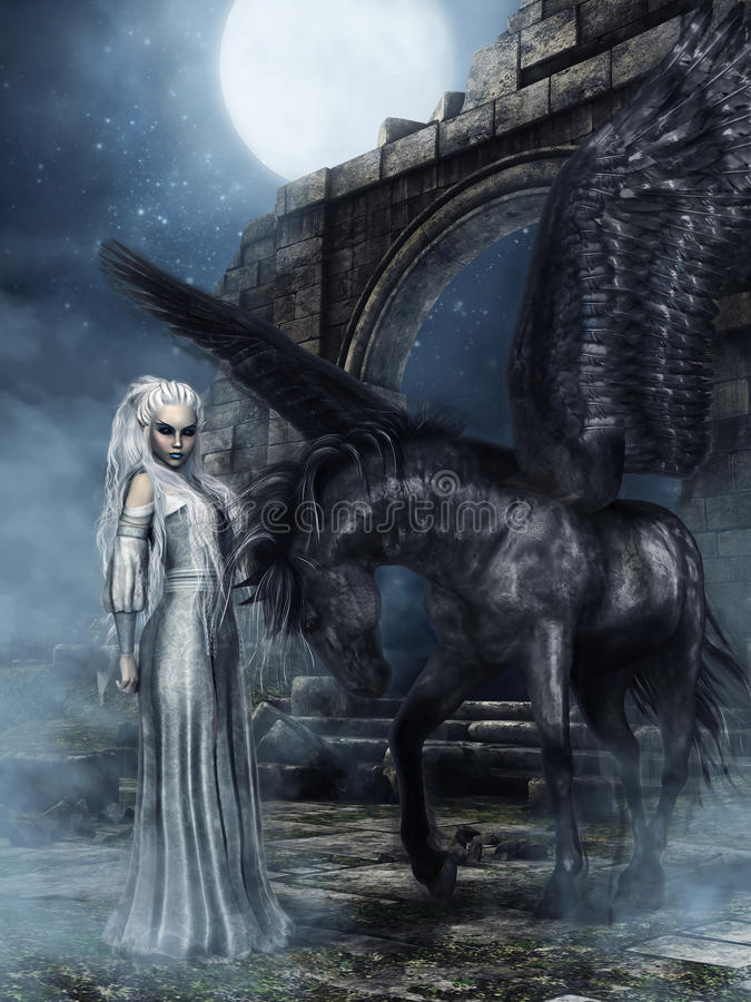 Princesa de Elven e cavalo voado preto ilustração royalty free