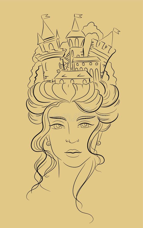 Princesa de la fantasía - ejemplo dibujado mano foto de archivo libre de regalías