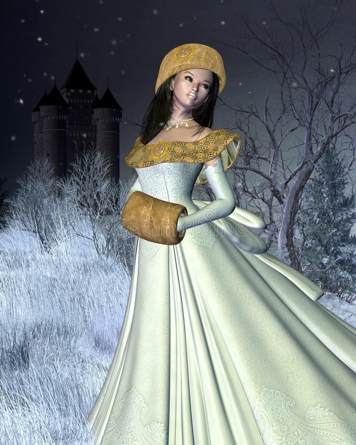 Princesa de la nieve y castillo del cuento de hadas ilustración del vector
