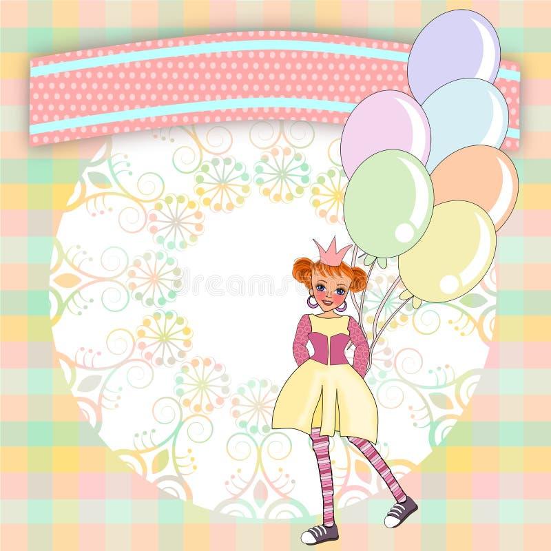 Princesa de la plantilla de las invitaciones stock de ilustración