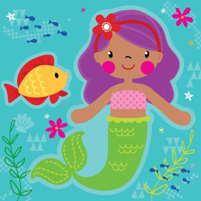 Princesa de la sirena y amigo bonitos de los pescados ilustración del vector