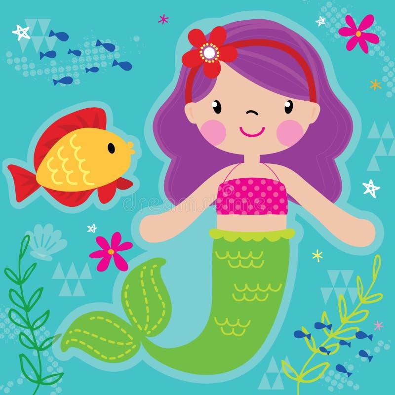 Princesa de la sirena y amigo bonitos de los pescados stock de ilustración