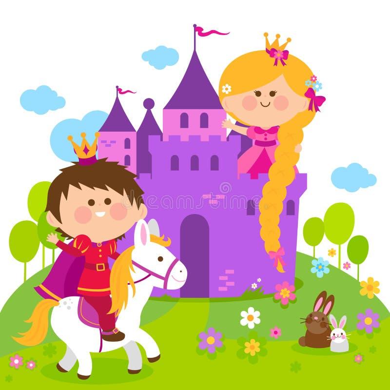 Princesa del cuento de hadas de Rapunzel en el castillo y príncipe que monta un caballo stock de ilustración
