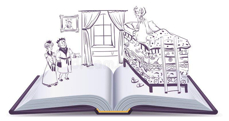 Princesa del cuento de hadas en el guisante libre illustration