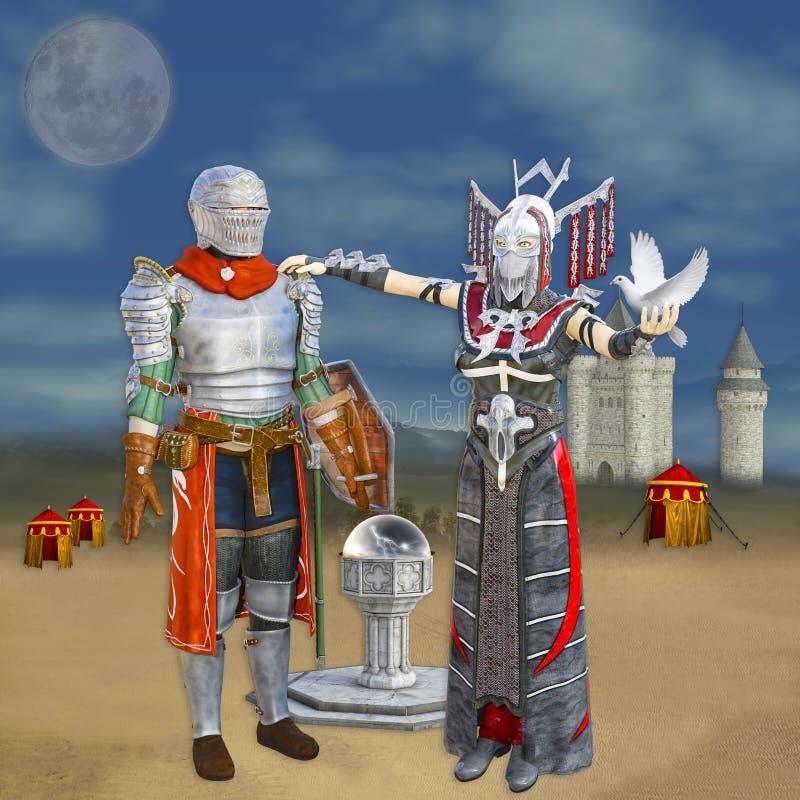 princesa del guerrero 3D stock de ilustración