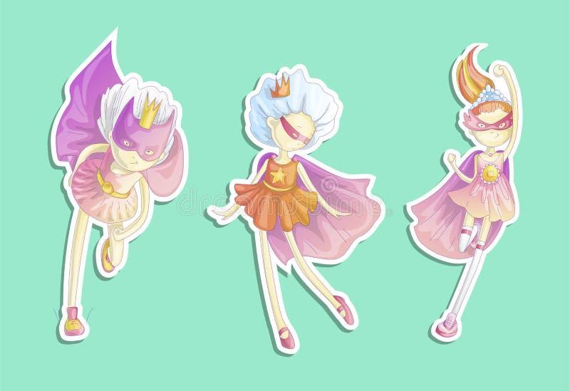 Princesa del super héroe, poca muchacha adolescente como ejemplo de la historieta del vector del super héroe con pendientes Funci stock de ilustración