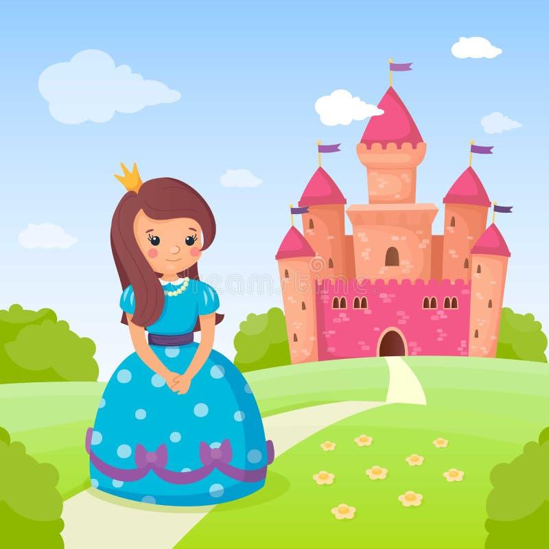 Princesa do conto de fadas no vestido bonito azul e em seu castelo cor-de-rosa bonito Menina bonita na estrada a ir em casa ver?o ilustração royalty free
