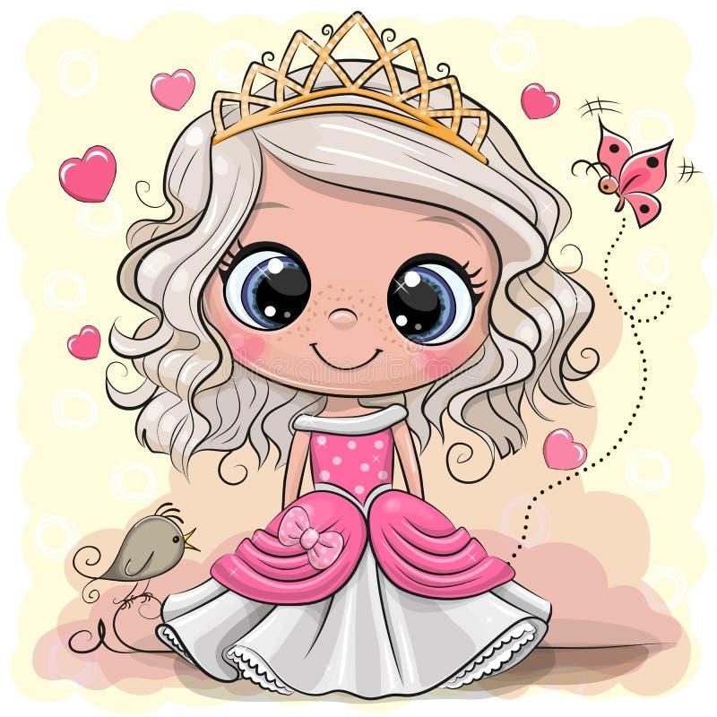 Princesa dos desenhos animados com pássaro em um fundo do yelow ilustração stock
