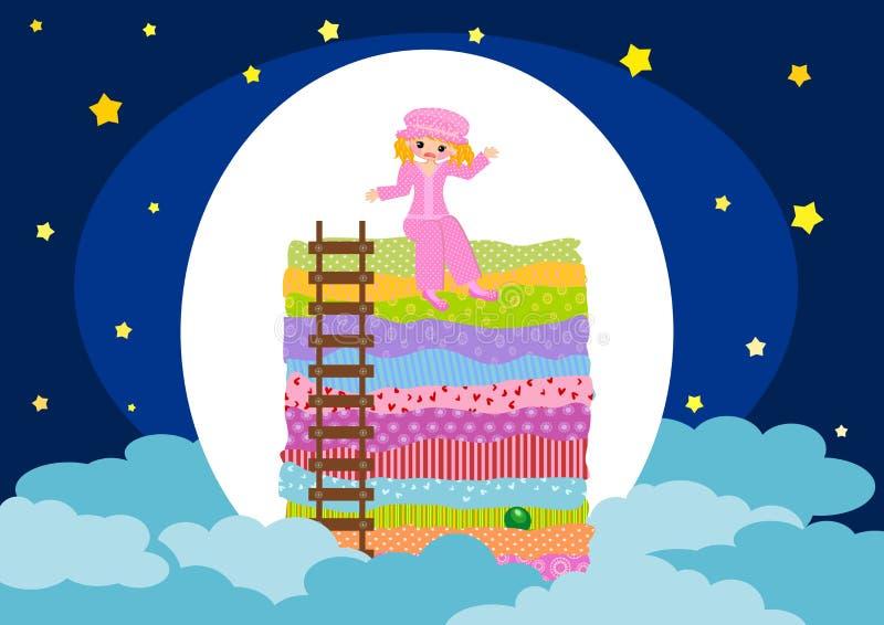 Princesa e a ervilha ilustração royalty free