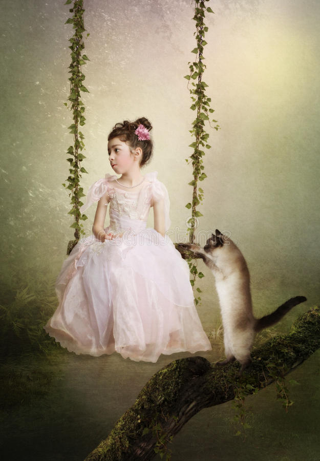 Princesa e gato tristes foto de stock royalty free