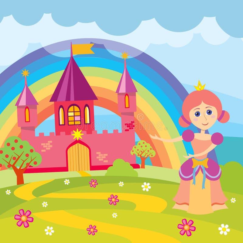 A princesa e o conto de fadas dos desenhos animados fortificam com ilustração do vetor da paisagem ilustração do vetor