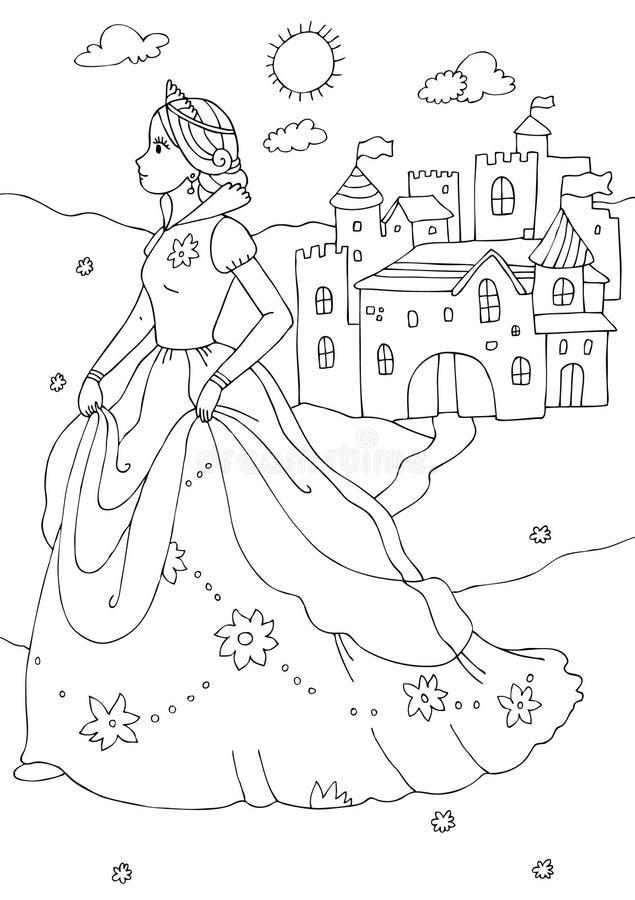 Princesa e página da coloração do castelo ilustração do vetor