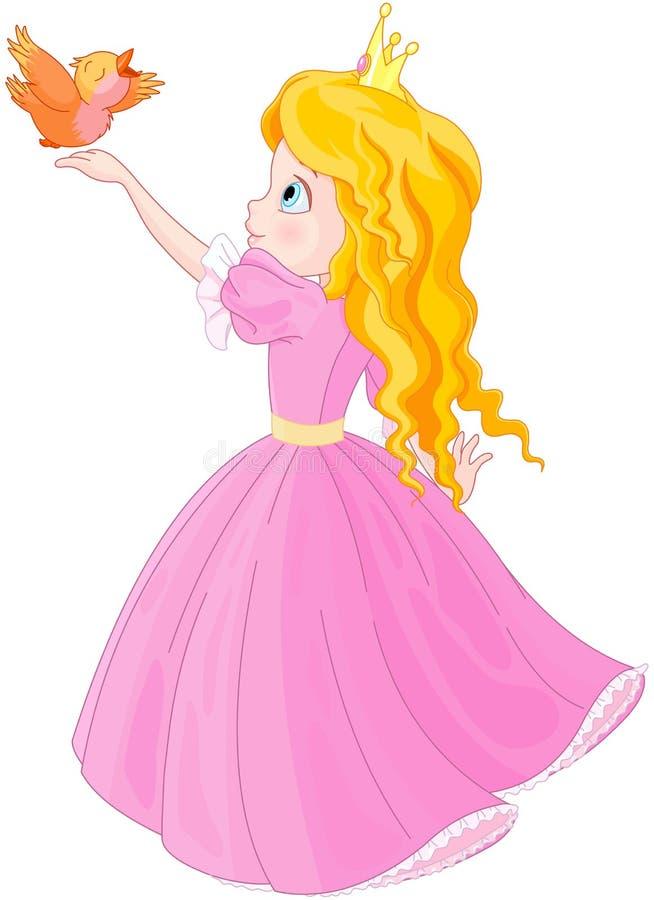 Princesa e pássaro ilustração do vetor