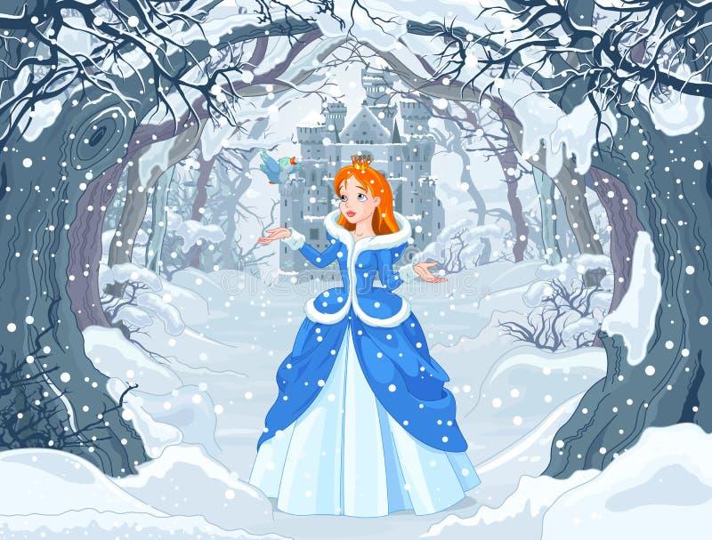 Princesa e pássaro ilustração stock