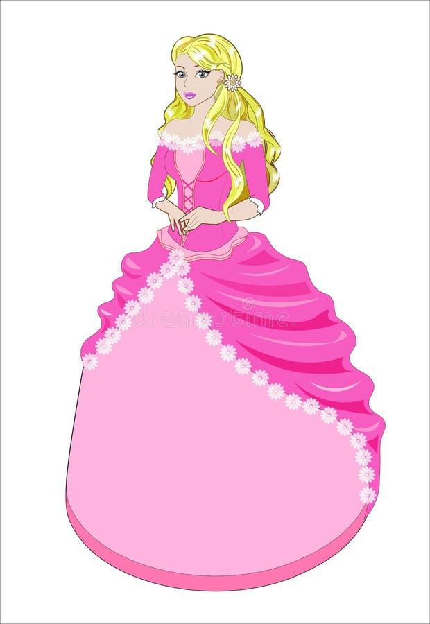 Princesa el blonde en un vestido rosado fotos de archivo
