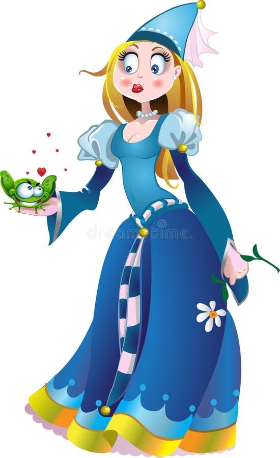 Princesa en azul con la rana ilustración del vector