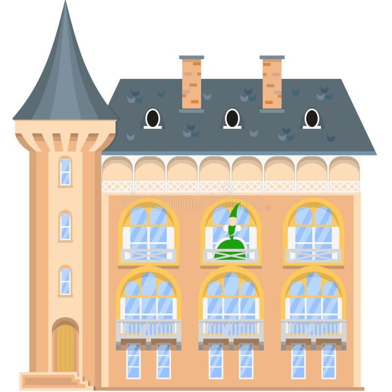 Princesa en el balcón de un castillo medieval ilustración del vector