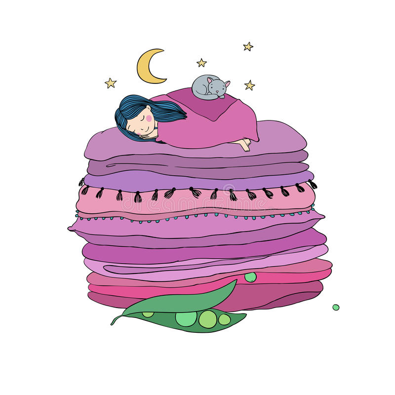 Princesa en el guisante Mantas y almohadas ilustración del vector