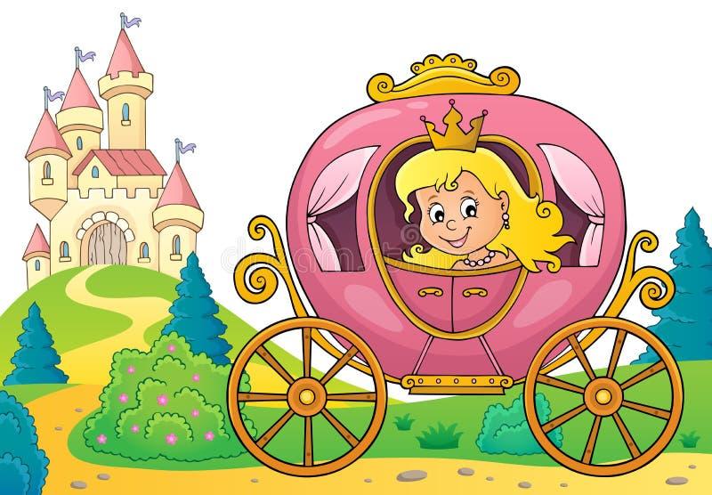 Princesa en la imagen 3 del tema del carro stock de ilustración