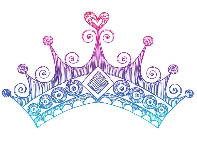 Princesa esboçado Tiara Coroa Caderno Doodles ilustração do vetor