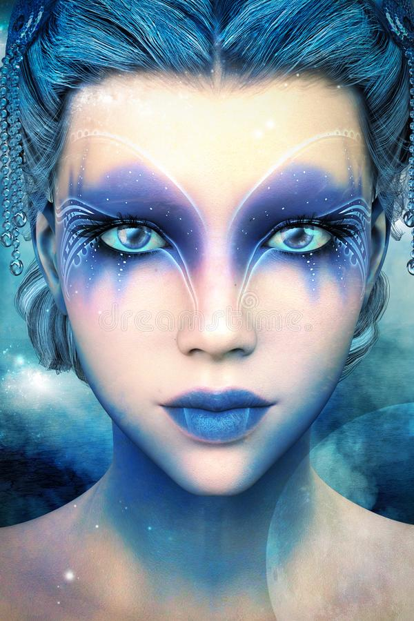 Princesa extranjera hermosa Illustration del hielo de la fantasía stock de ilustración