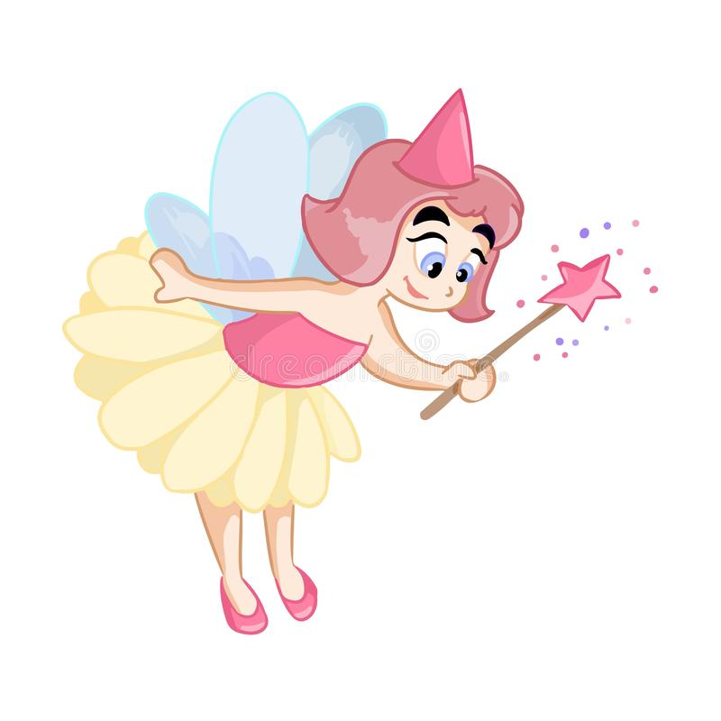 Princesa feericamente pequena bonito com varinha mágica ilustração do vetor