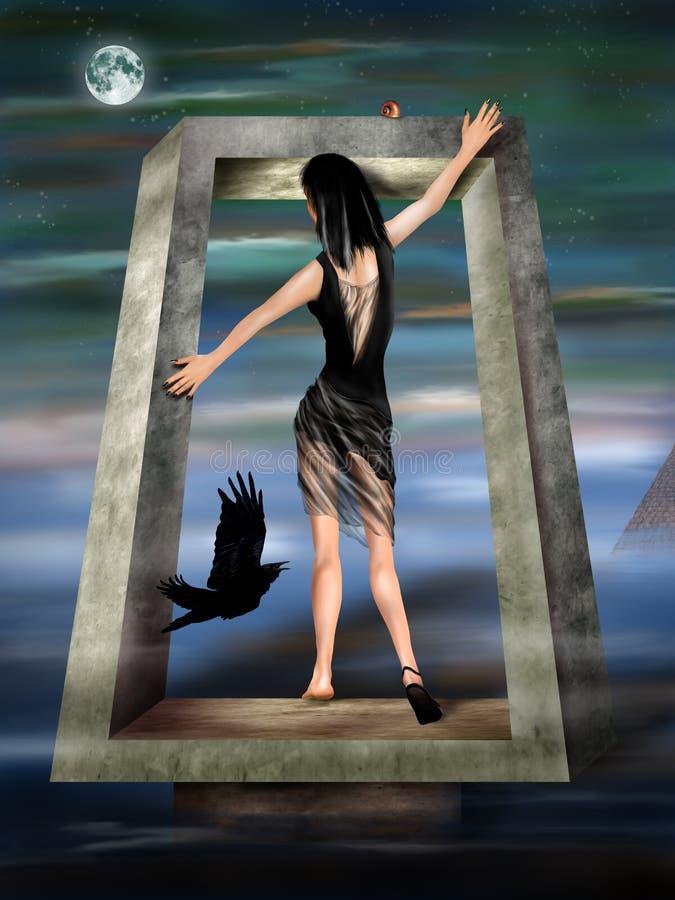 Princesa gótico em um Dreamscape surreal ilustração royalty free