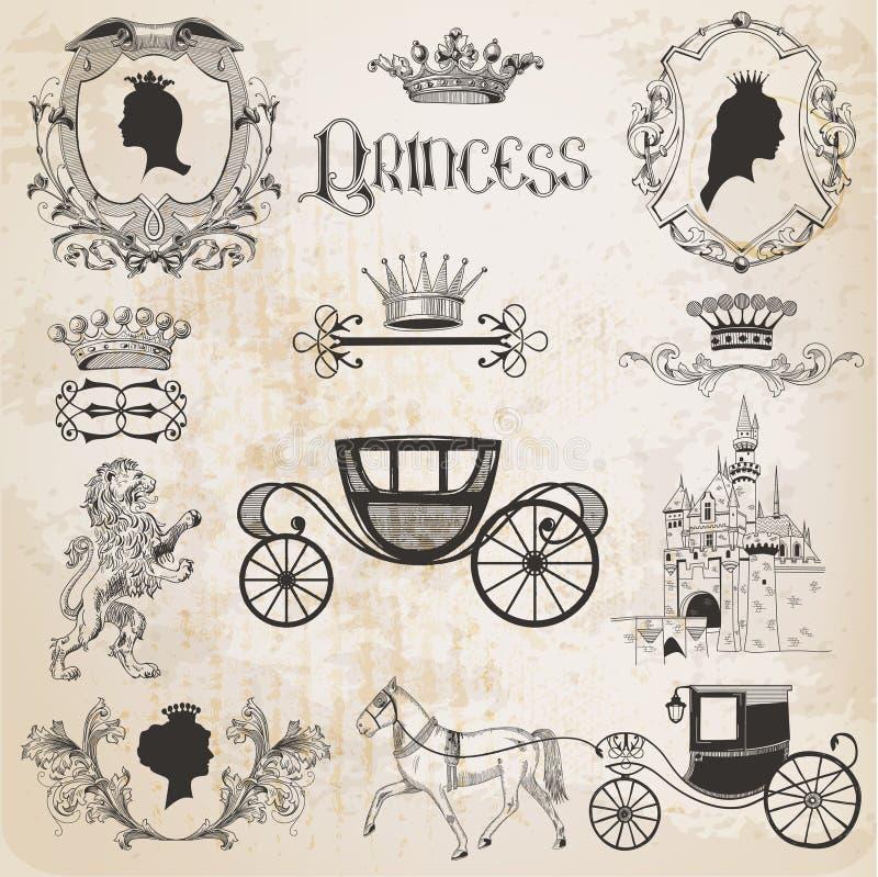Princesa Girl Set do vintage ilustração royalty free