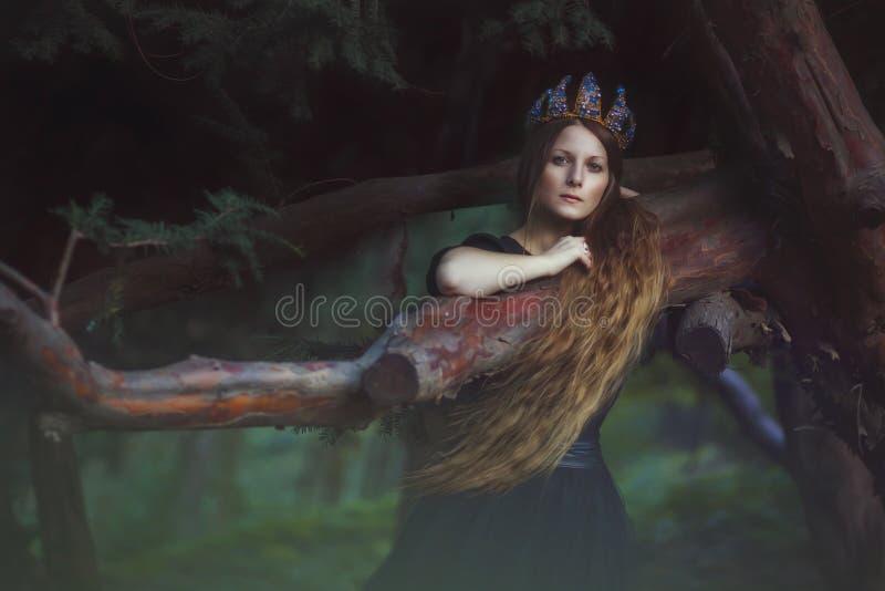 Princesa hermosa en jardín imagen de archivo