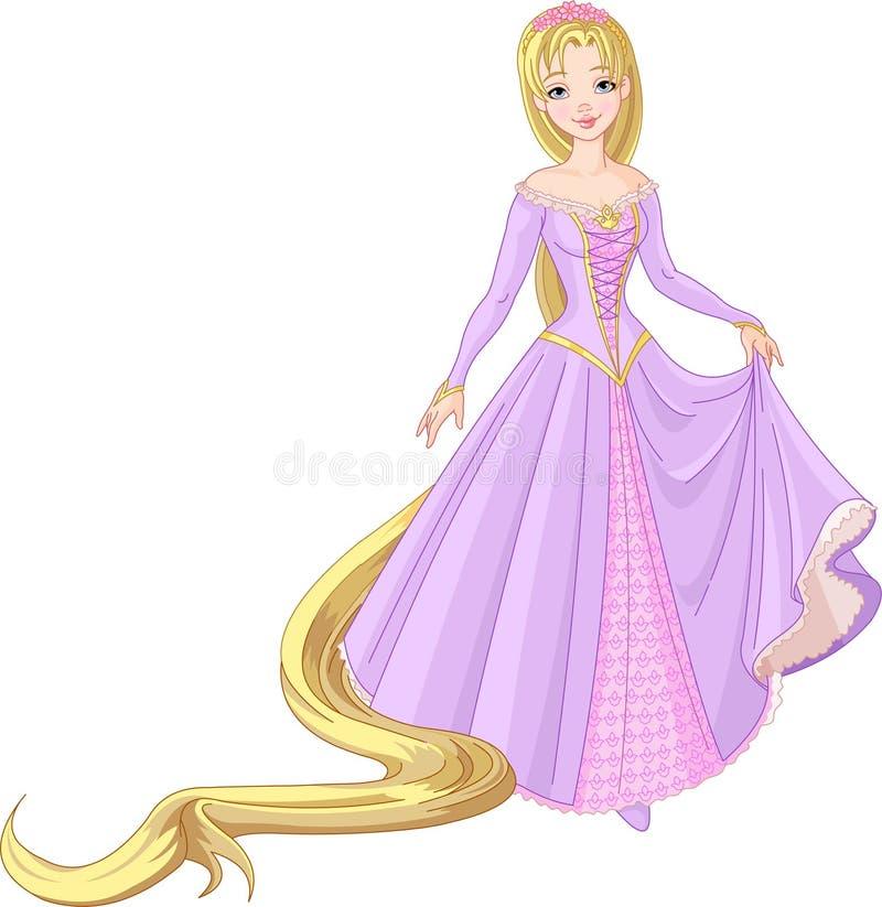 Princesa hermosa Rapunzel stock de ilustración
