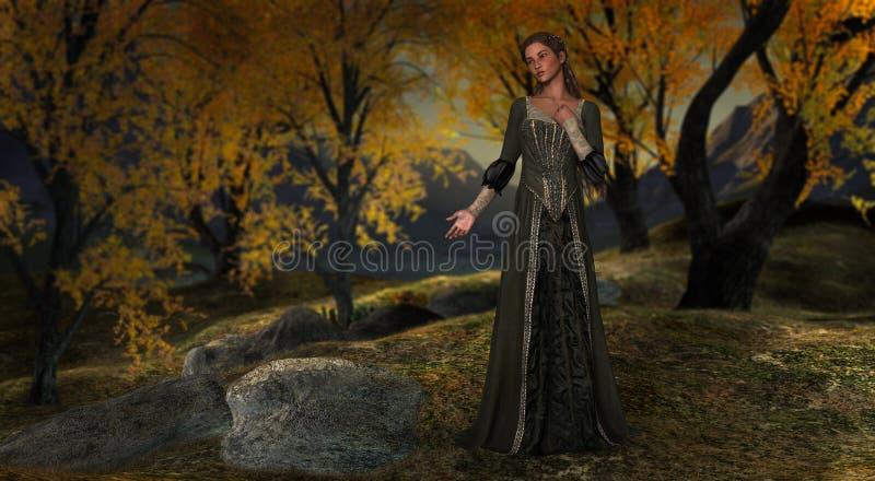 Princesa Hushed Peaceful Forest Illustration ilustração royalty free