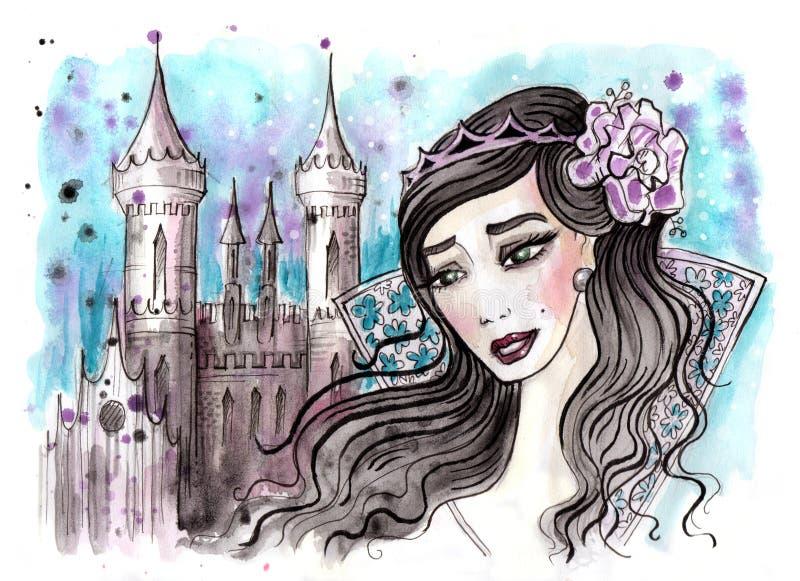 Princesa imaginária com cabelo escuro e seu castelo atrás ilustração stock