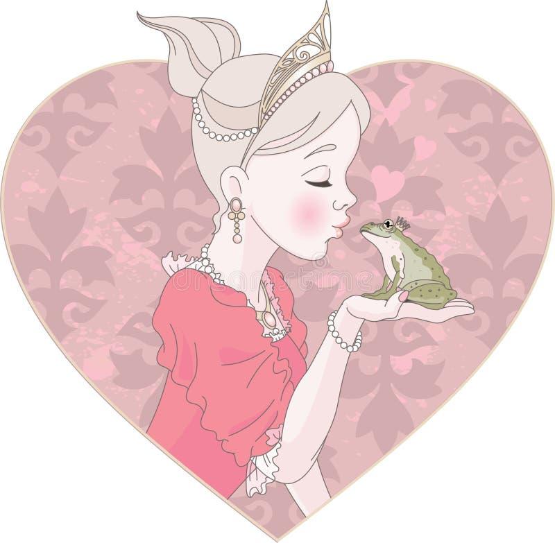 Princesa Kissing Frog stock de ilustración