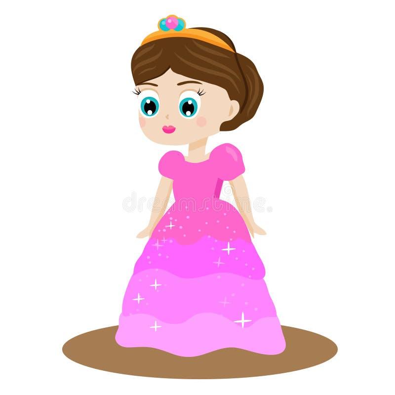 Princesa Linda Del Cuento De Hadas Del Kawaii En Vestido Y Corona ...