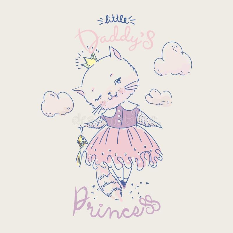 Princesa linda del gato con los pescados y lema del oro ilustración del vector