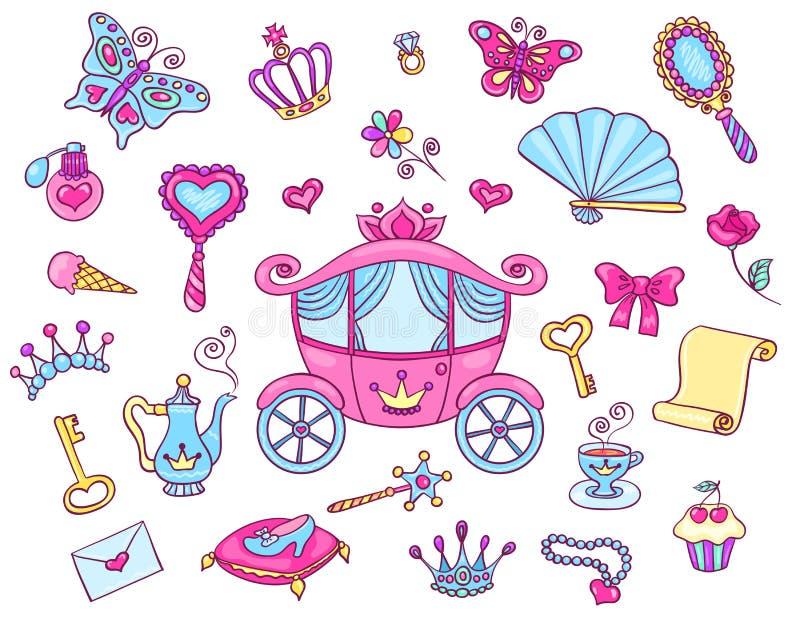 Princesa linda fijada con el carro libre illustration