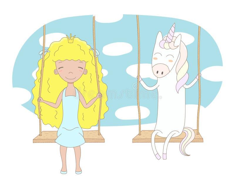 Princesa linda y unicornio en un oscilación ilustración del vector