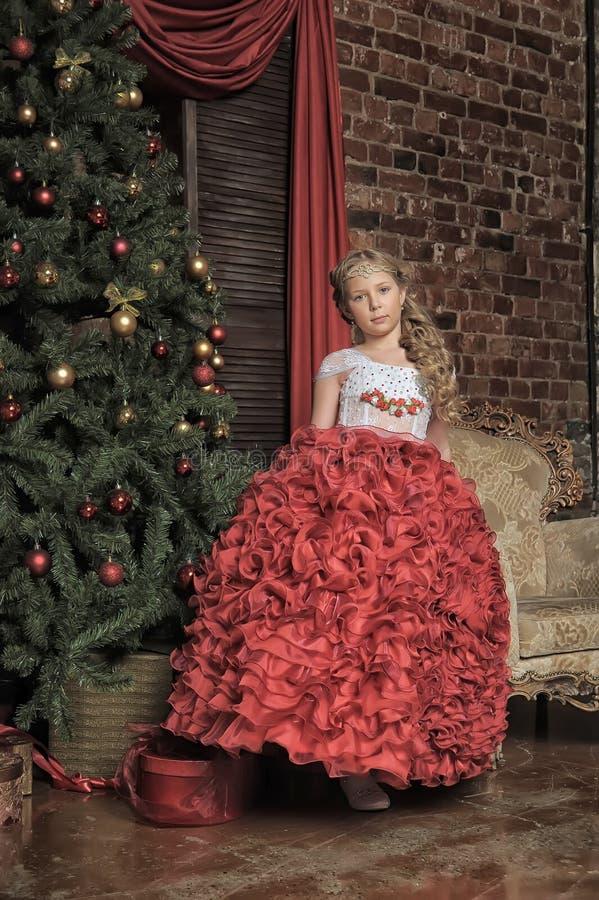 Princesa loura encantador em um vestido esperto imagem de stock