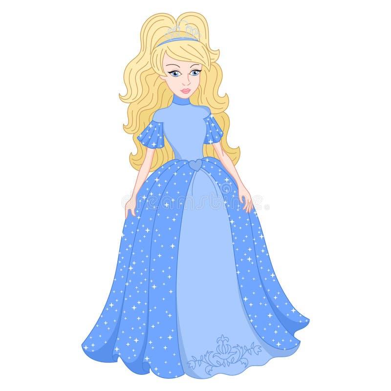 Princesa loura no vestido azul do brilho com lantejoulas ilustração royalty free