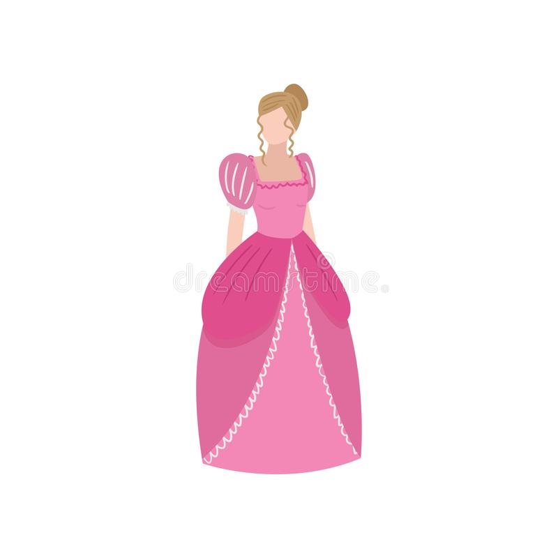 Princesa medieval elegante bonito, menina do cabelo louro ilustração royalty free